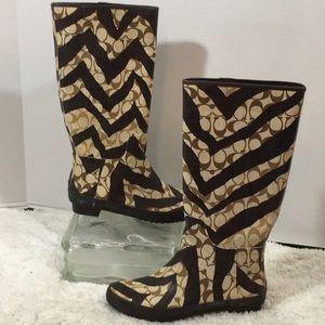 Coach Pammie zebra sig rain boots 6